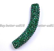 1pcs Emerald Curved Czech Crystal  Pave Tube Bracelets Connector Charm Beads