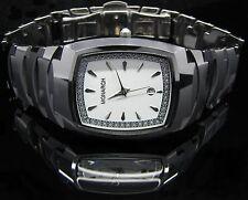 Luxus Tungsten Wolfram Herren Armband Uhr Datum CZ Diamant ROYAL SILVER White lt