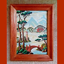 Vintage Paint by Number Painting Outdoor Scene Foot Bridge Asian Theme w/ Frame