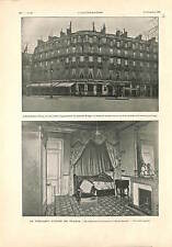Hotel Scribe Paris Room of Paul Kruger South Africa ANTIQUE PRINT 1900