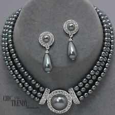 CLASSY GRAY PEARL & CRYSTAL WEDDING FORMAL NECKLACE JEWELRY SET CHIC AND TRENDY