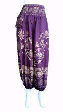 Mens Ladies Gypsy Boho Harem Casual Trousers /  Pants With Thai Elephants