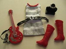 Lot Disney Hannah Montana Doll Miley Cyrus Clothes Stripe Dress Red Boots Guitar