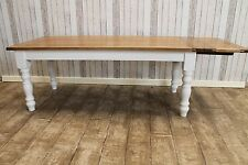 8FT EXTENDING COUNTRY FARMHOUSE KITCHEN TABLE WITH OAK TOP AND PAINTED BASE
