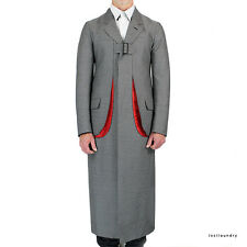 Alexander McQueen Grey Red Slashed Pocket Buckled Front Trench Coat IT48 UK38