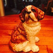 Vintage Hand Painted Ceramic Saint St. Bernard Puppy Dog Figurine - LARGE