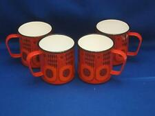 Set of 4 Vtg FINEL Arabia Finland Lintu Bird Enamel Metal Mugs Cups Kaj Franck