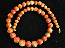 "Vintage Natural Undyed Sponge Coral Beads Necklace 18"" Long"