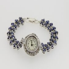 Natural Blue Sapphire Antique Look Vintage Mother of Pearl Face Watch 925 Silver