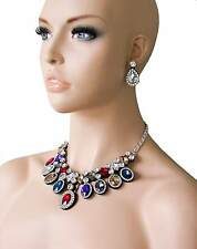 Multicolor Statement Fake Necklace Earrings Set, Rhinestones, Drag Queen,Pageant