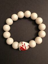 Lucky Money Cat (Good Luck) White Acrylic Bead Bracelet