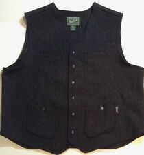 Woolrich Wool Utility Vest Mens XL Snap Front Welt Pockets Buckle Back Excellent