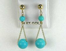 Classic Sleeping Beauty Turquoise Globes Solid 14k Gold Dangle Post Earrings