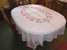 FABULOUS VINTAGE COTTON TABLECLOTH-HAND CROSS-STITCHED PINK & RED ROSES
