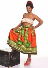 Traditional Dashiki Print Wax Skirt Sengal Inspired Elastic Waist Bow Tie Orange
