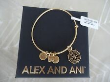 Alex and Ani TAKE THE WHEEL Rafaelian Gold Charm Bangle New W/ Tag Card & Box