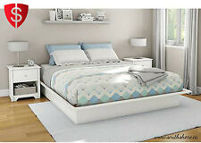 Queen Size White Platform Bed With Molding Modern Bedroom Frame Furniture Wood
