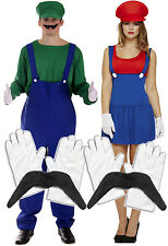 Mens Luigi + Ladies Mario Couples 80s Fancy Dress Costume + Gloves + Moustache