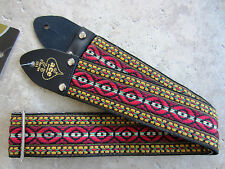 D'Andrea ACE VINTAGE REISSUE Guitar Strap BOHEMIAN RED Hippie Woven JIMMY PAGE