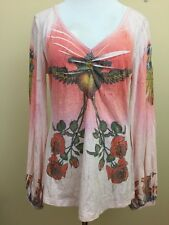 Butterfly Dropout Pink Floral Graphic Design Tunic Long Sleeve Top Large #2571