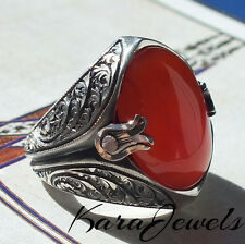 925 Sterling Silver Men's Ring Unique Jewelry with Yemen Aqeeq Carnelian