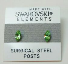 7mm Small Light Green Crystal Oval Stud Earrings Children's SWAROVSKI ELEMENTS