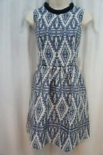 Jessica Simpson Dress Sz 4 Aztec Blue Tribal Print Sleeveless Short Sheath Dress