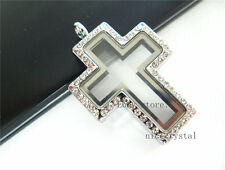1p Rhinestone Cross Floating living Memory Locket fit floating charms