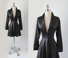 Vintage Early Gilbert Black Satin Corset Bk Princess Cut Evening Jacket Top S M