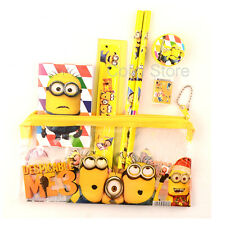 New Cute Despicable Me Minion Pencil Case Stationary Zipper Set Kids Boy Girls