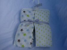 CARTERS BABY BOY COTTON MUSLIN SWADDLE BLANKET WRAPS WHITE LIME GREEN BLUE STAR