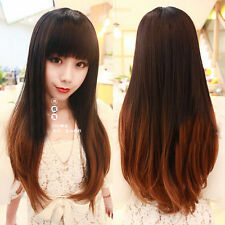 Women's Lady Natural Brown Ombre Hair Long Curly Wavy Heat Resistant Full Wigs