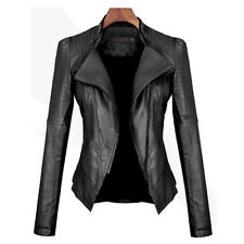 Ladies Slim Fit Black PU Leather Cropped Womens Zip Up Biker Jacket Coat UK 6-16