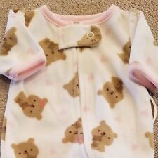 SWEET! NEW CARTER'S PREEMIE PINK BEAR FLEECE FOOTED SLEEP N PLAY OUTFIT REBORN