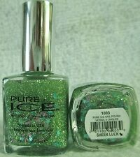 Pure Ice Nail Polish Sheer Luck #1003 Green Glitter Mix Holographic Top Coat