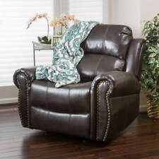 Recliner Chairs For Living Room PU Leather Glider Rocker Brown Upholstered Club