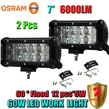 2 Pcs 7Inch 60W OSRAM Led Flood Work Light Bar 4WD ATV SUV Off-road Car Truck