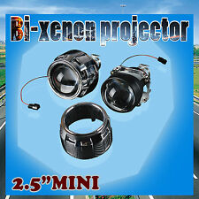 "Pair 2.5"" HID Bi-xenon Projector lens Kit H4 H7 Hi/Lo Headlight Retrofit Shroud"