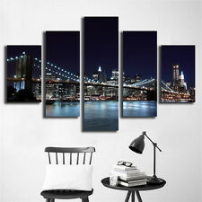 5 Piece New York City Landscape Bridge Picture Wall Art Decor Painting US