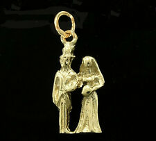 C078 Genuine 9ct SOLID Yellow Gold Bride & Groom Wedding Charm 3D & jump-ring