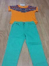 Baby Girls Size 7-8 Years Green Jean Pants & Orange Aztec T-Shirt - Brand New