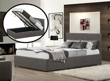 Gas Lift Storage Bed Dark Grey Fabric Upholstery Queen size