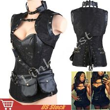 Gothic Corset Steampunk Black Bustier Fancy Lingerie Steel Boned Top Costume M