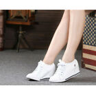 Fashion Womens Leather Hidden Wedge Heel Sneaker High top Lace up Athletic Shoes