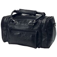 Black Leather Travel Bag Carry On Duffle Satchel Shave Groom Men Women Toiletry