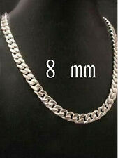 """Punk Men' Necklace 925 Silver 8mm Choker Curb Chain Collar Necklace 22"""""""