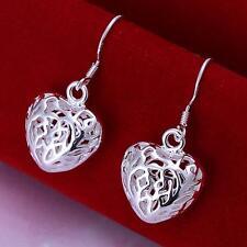 Beautiful 925 Sterling Silver Plated Filigree Heart Dangle Earrings velvet bag