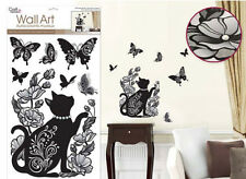 ELEGANT ILLUSIONS wall stickers w/Glitter & Gems CAT flowers 6 big decals kitten
