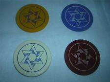 "Set of 4 different Color ""Evening Star"" Vintage Clay Poker Chips Card Caps"