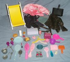 Lot of BARBIE DOLL Accessories Clothes Dishes Food Brushes Chair Purse Toaster